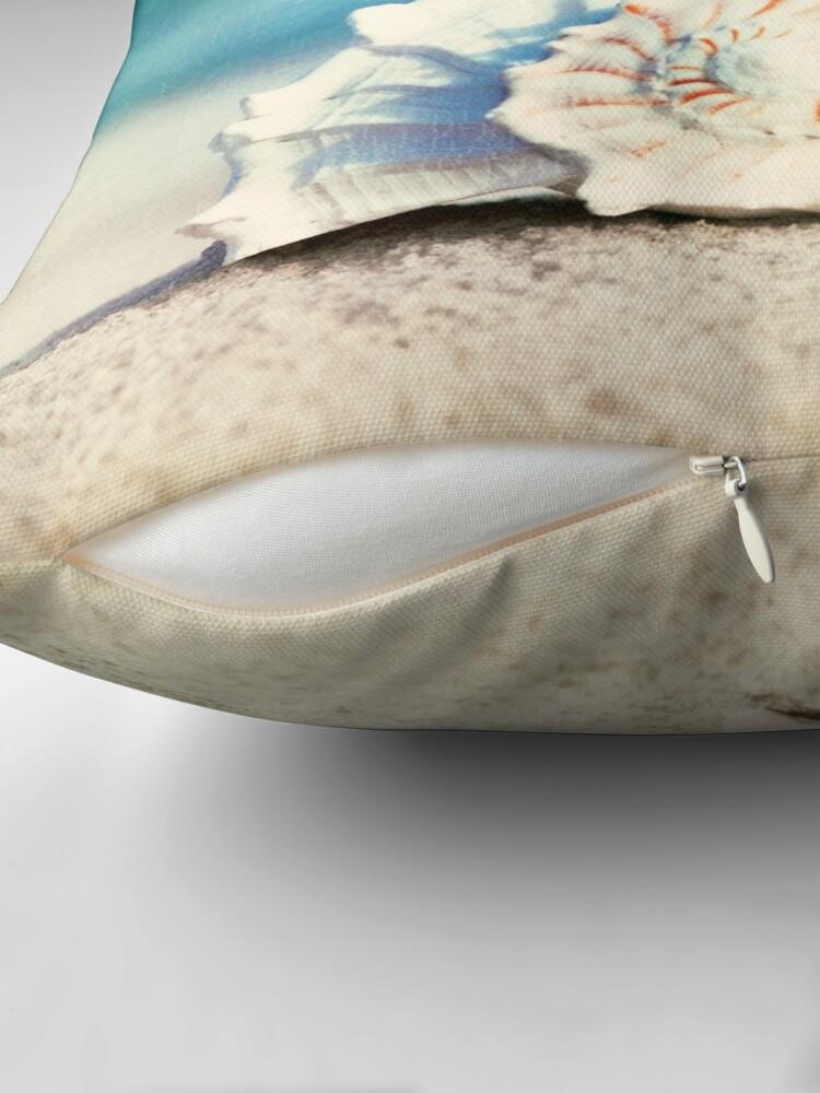"Alternate view of ""Paradise"" - Aqua Beach Seashell  Throw Pillow"