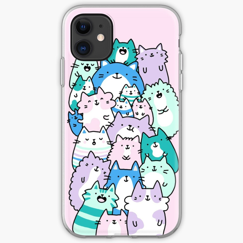 Pastel Pile Of Cats iPhone Case & Cover