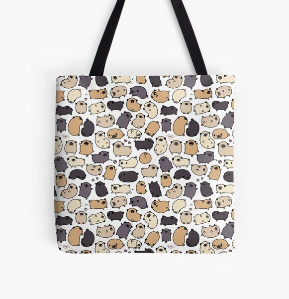 Pug Life Doodle All Over Print Tote Bag