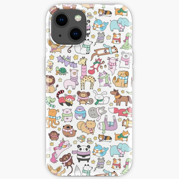 Winter Animals with Scarves Doodle iPhone Soft Case