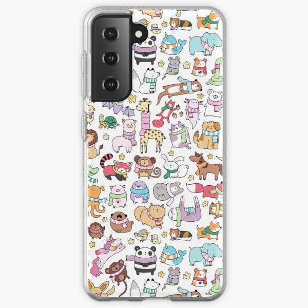 Winter Animals with Scarves Doodle Samsung Galaxy Soft Case