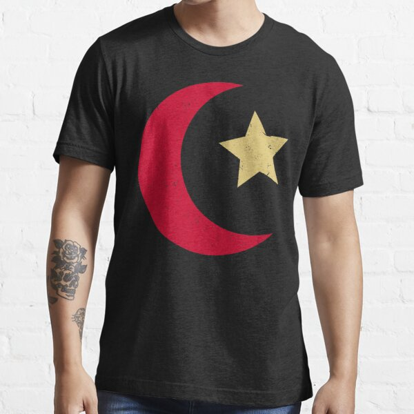Islamic star and crescent in Japanese red and gold   Ottoman Empire and Turkey Symbolism Essential T-Shirt