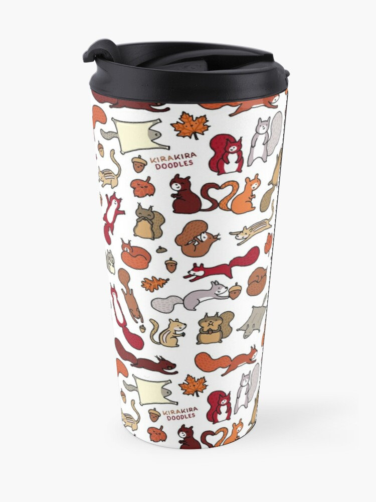 Alternate view of Squirrels in Fall Doodle Travel Mug