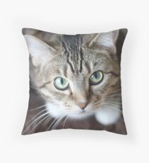 Sweet Cat looking up Throw Pillow