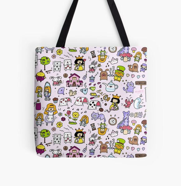 Alice in Doodleland All Over Print Tote Bag