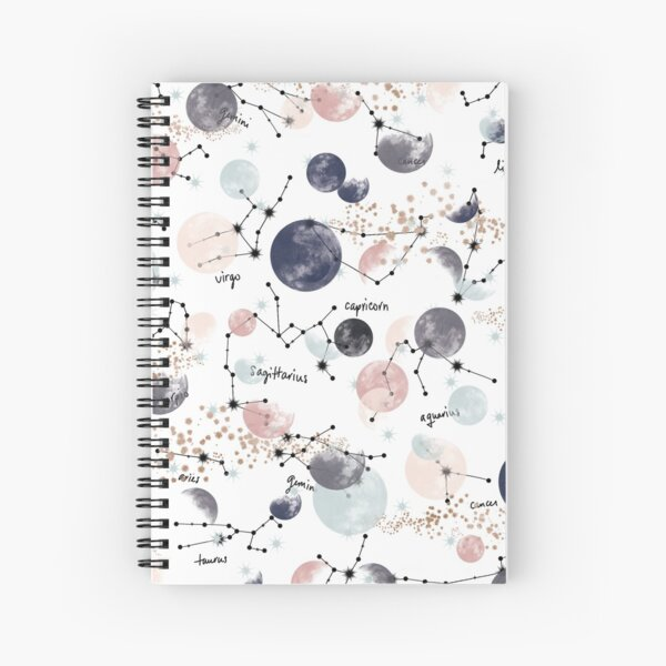 Astrology Constellation Pattern Watercolor Witchy Zodiac Sign Horoscope Spiral Notebook