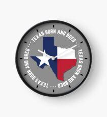 Texas Born and Bred TX State Flag Native Texan Clock