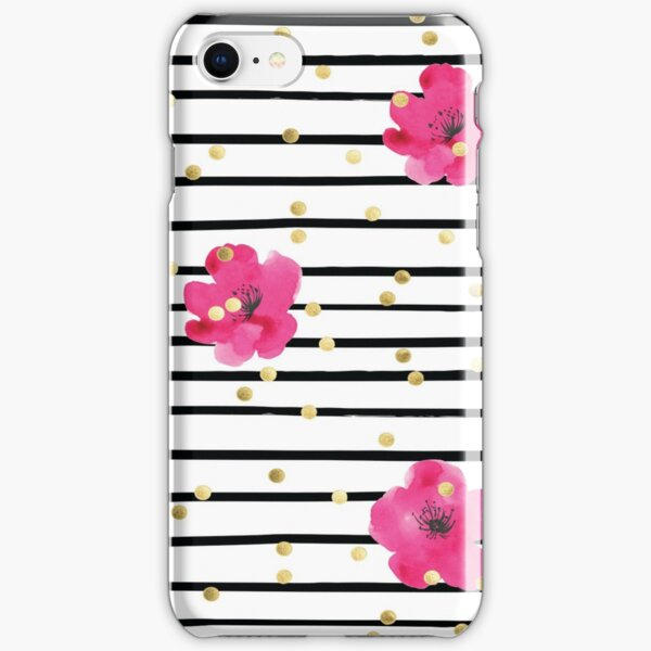 Floral Stripe and Gold Dot Design Kate Spade Inspired Fun Chic iPhone Snap Case