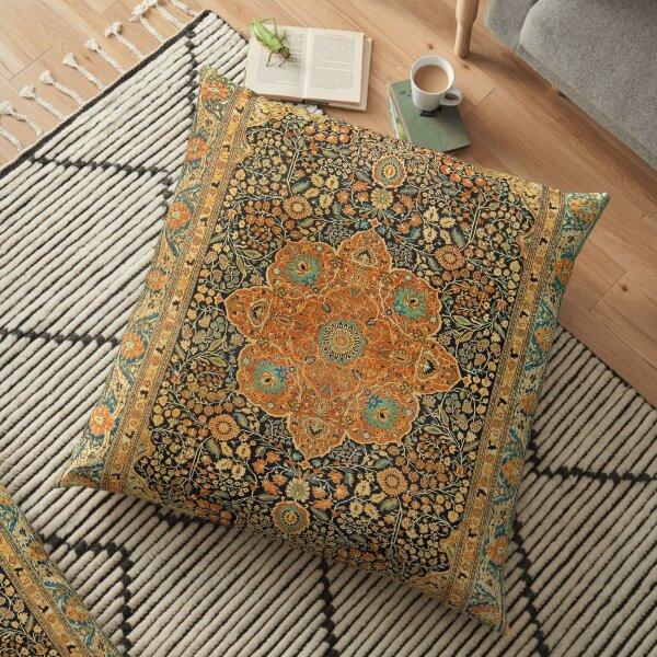 Antique Mohtashem Kashan Persian Rug Print Floor Pillow