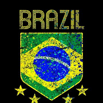 Brazil Soccer Jersey Shirt Paint Splatter Vintage Distressed  by 7United