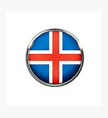 Iceland flag coat of arms flag Photographic Print