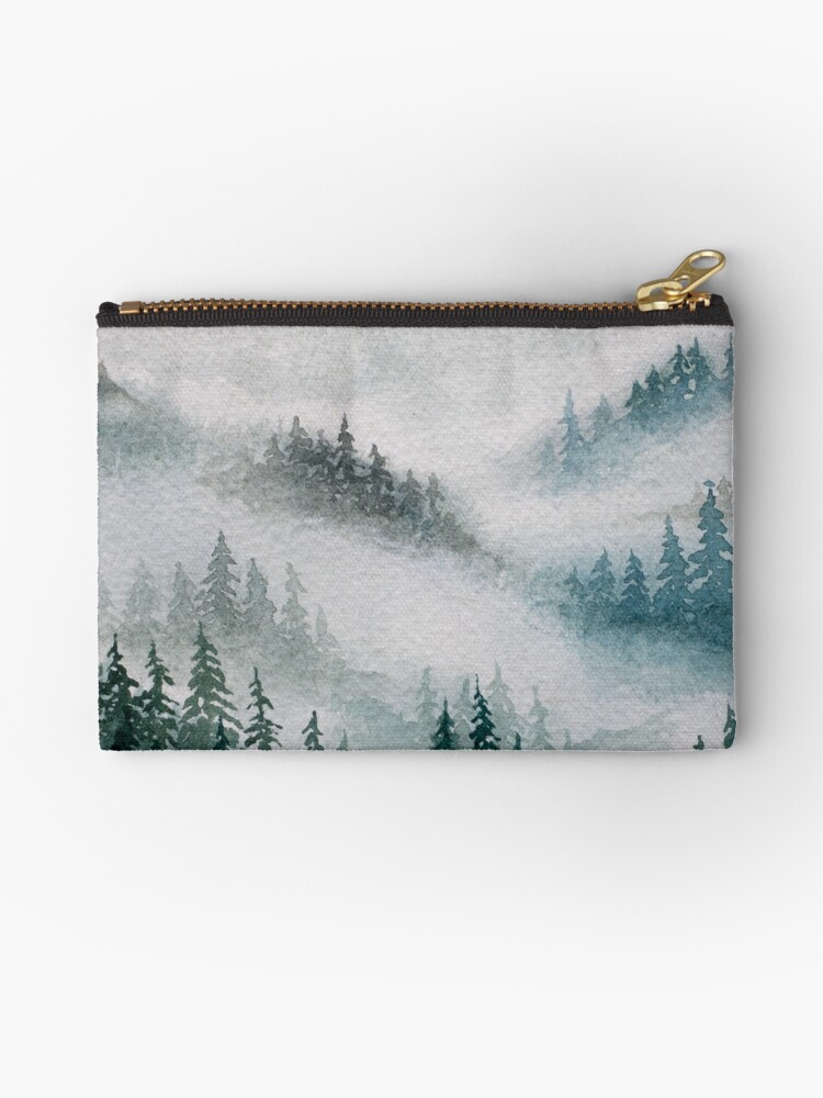 misty forest watercolor painting by RedFinchDesigns