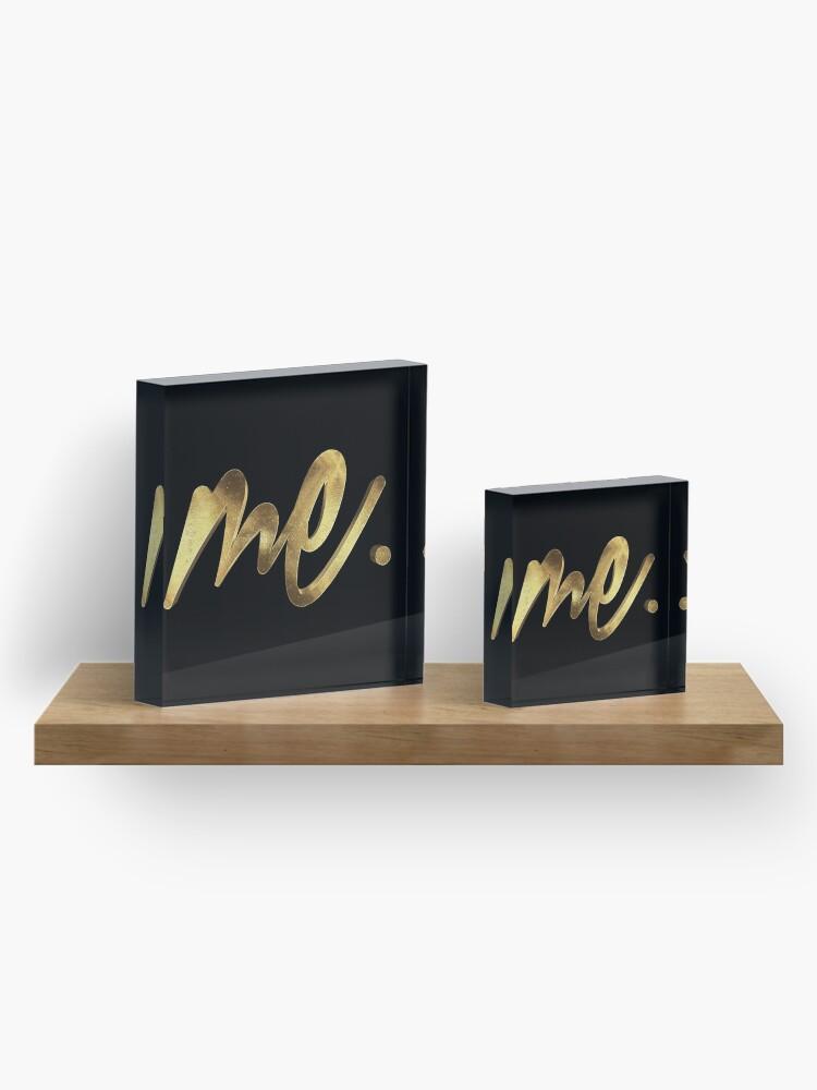 Alternate view of Me, Myself & I Gold Acrylic Block