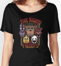 Five Nights At Freddy's Pizzeria Multi-Character Women's Relaxed Fit T-Shirt