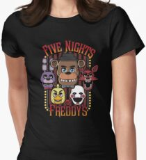 Five Nights At Freddy's Pizzeria Multi-Character Women's Fitted T-Shirt