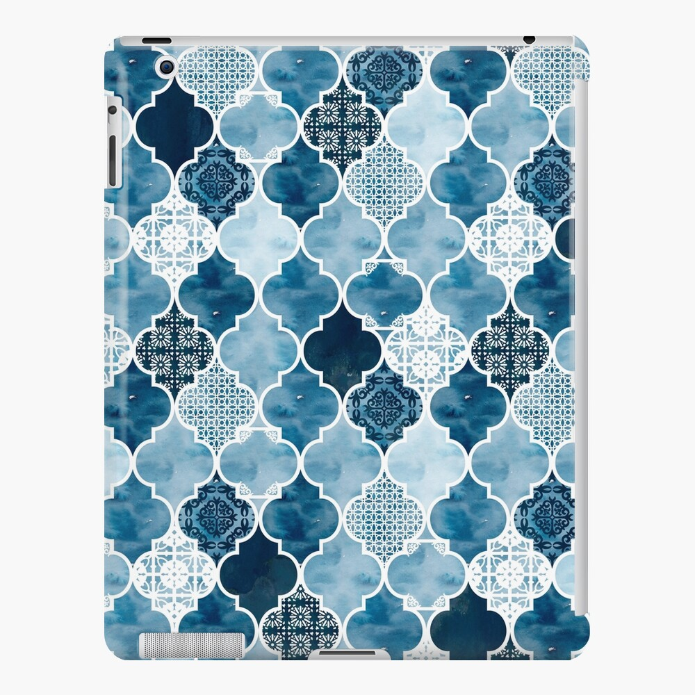 Moroccan trellis in midnight blue iPad Case & Skin