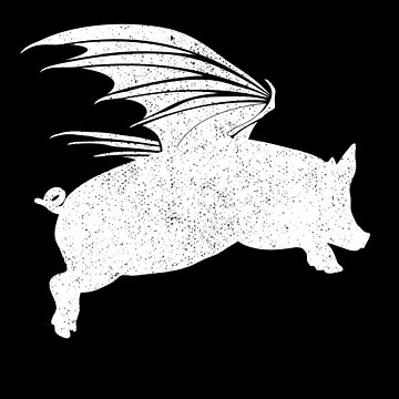 Flying Pig Pigs Will Fly White Graphic by bev100