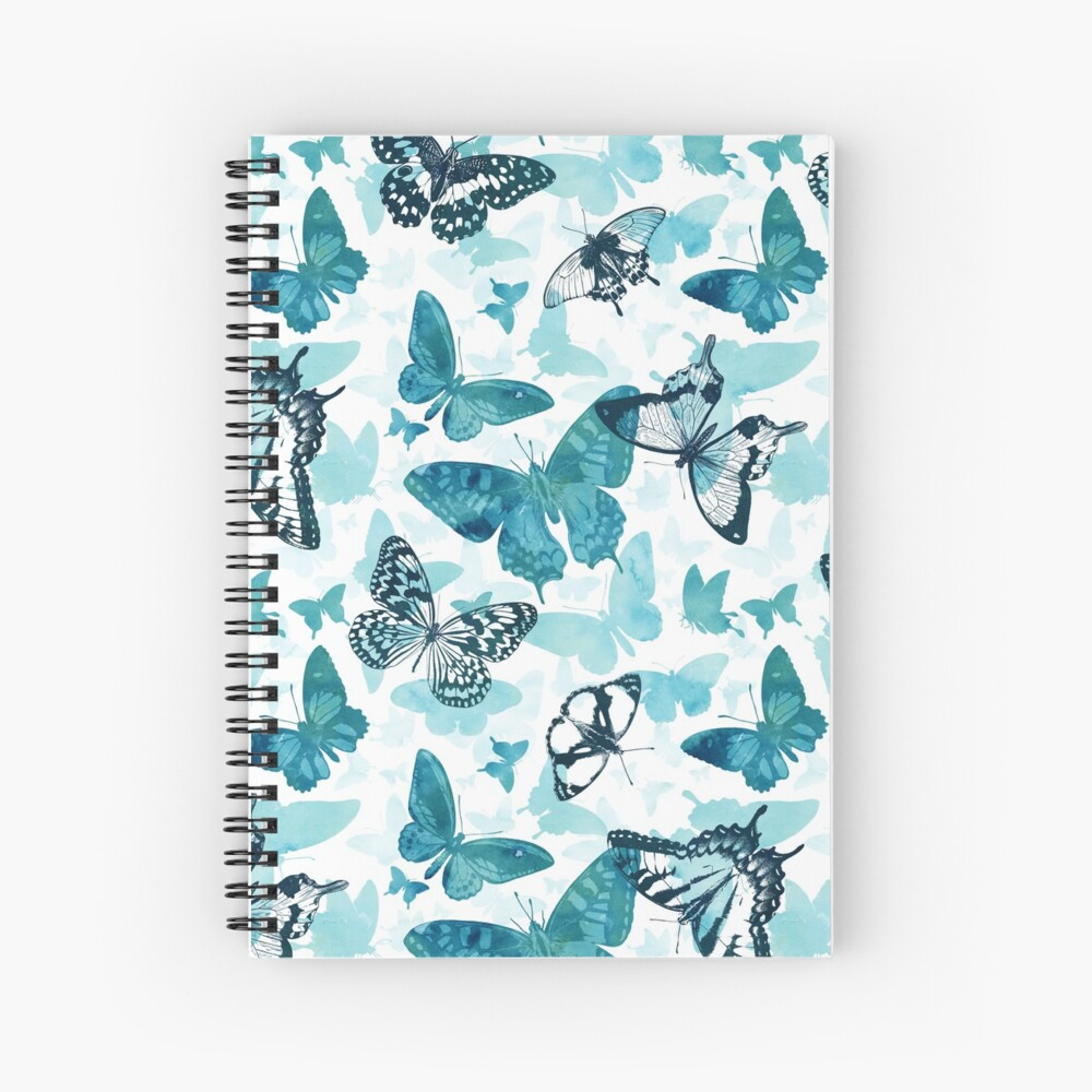 Butterfly glow in turquoise blue Spiral Notebook