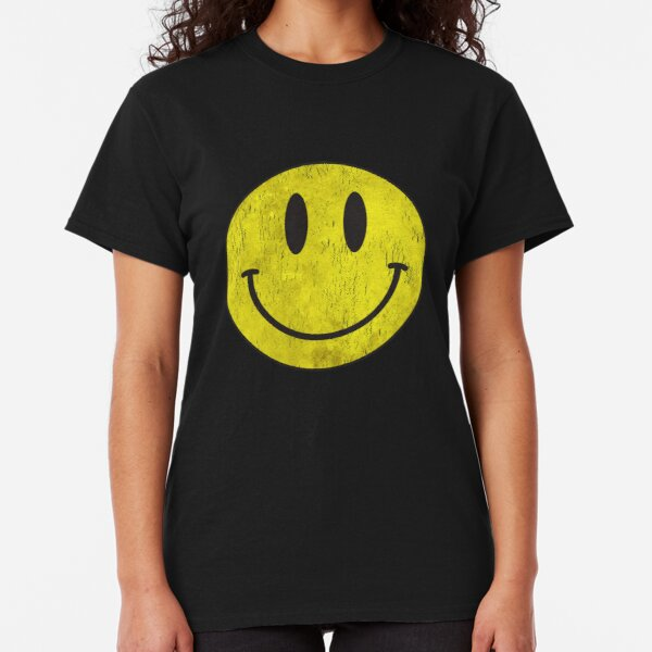 SMILEY FACE T SHIRT girly T WOMENS lady fit ACID RAVE