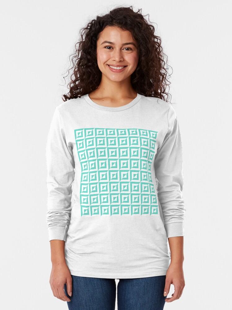 Alternate view of Geometric Pattern: Square Split: Blue Long Sleeve T-Shirt