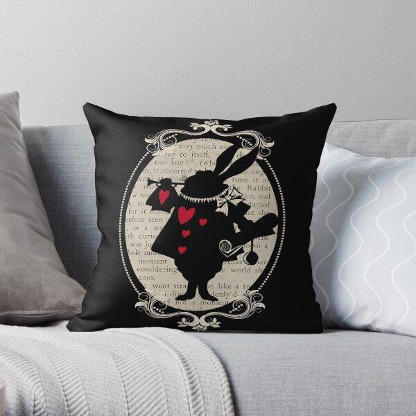 Alice In Wonderland White Rabbit Vintage Book Throw Pillow