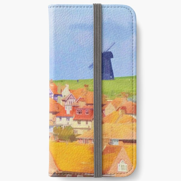 Windmill and Hot Air Balloon Scene iPhone Wallet