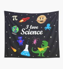 I Love Science Wall Tapestry