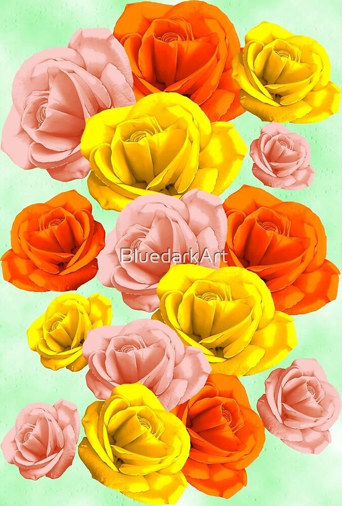 Roses Pastel Colors Floral Collage by BluedarkArt