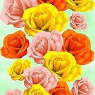 Roses Pastel Colors Floral Collage by BluedarkArt
