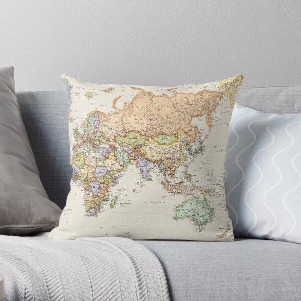 Vintage Map Cushion (Australia, Asia, Europe & Africa) Throw Pillow