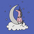 Dare to Dream - Pink Unicorn - Blue Background by Megan Downing