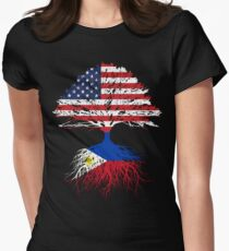 Filipino Roots American Grown Philippines Flag Design Women's Fitted T-Shirt