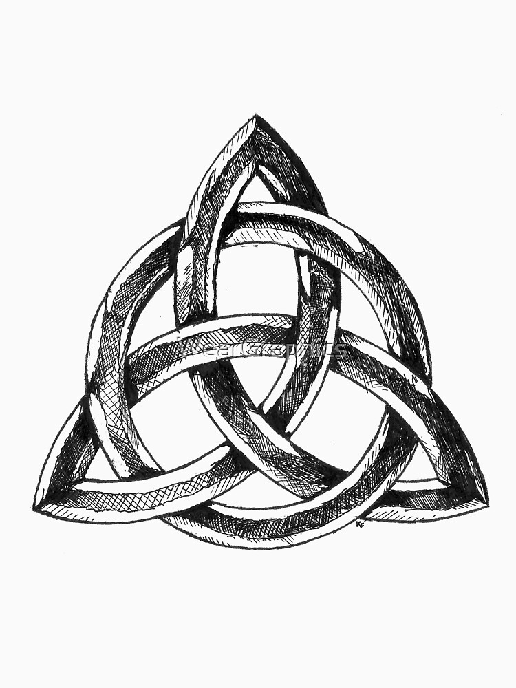 Triglav The Symbol Of Slavic Tree Headed God Womens Fitted V Neck