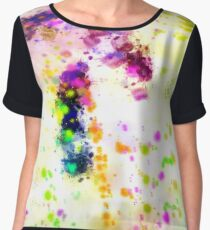 Organized Chaos Colorful Abstract Paint Splatter  Chiffon Top
