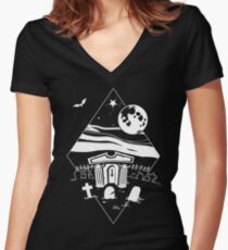 Spooky Mausoleum under the Full Moon Women's Fitted V-Neck T-Shirt