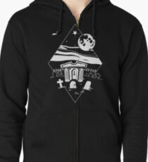 Spooky Mausoleum under the Full Moon Zipped Hoodie