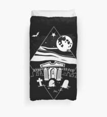 Spooky Mausoleum under the Full Moon Duvet Cover