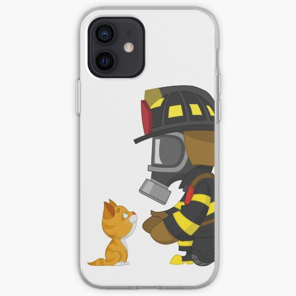 Firefighter rescues kitten iPhone Soft Case