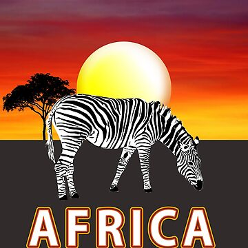 African Safari Animals Zebra Sunset Scene by Artification