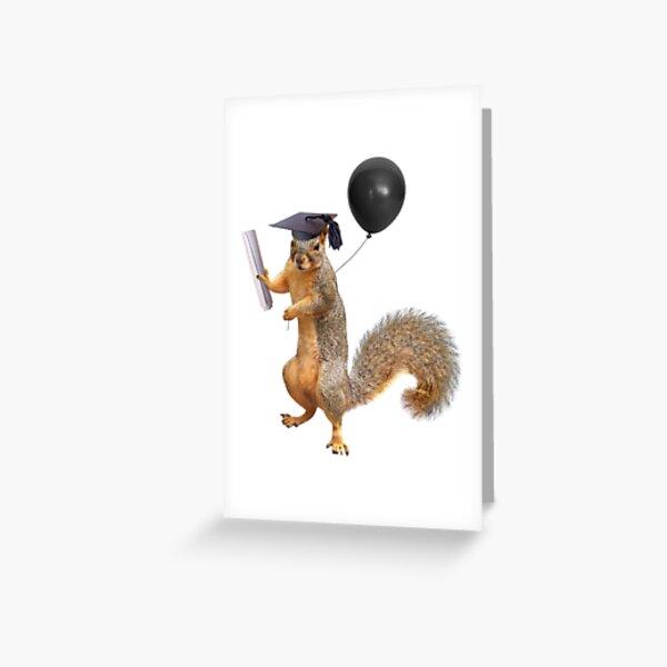 Squirrel Grad with Diploma and Balloon Greeting Card