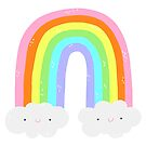 Cute Happy Rainbow with Clouds by lizzydeestudio