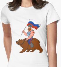 Russian riding a bear. Women's Fitted T-Shirt