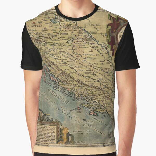 Map Of The Adriatic Sea 1590 Graphic T-Shirt