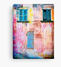 Rotting facade with two windows Canvas Print