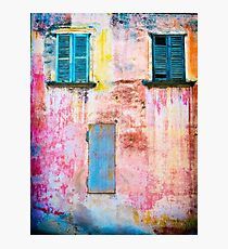 Rotting facade with two windows Photographic Print