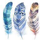 3 Boho feathers watercolors illustration by artonwear