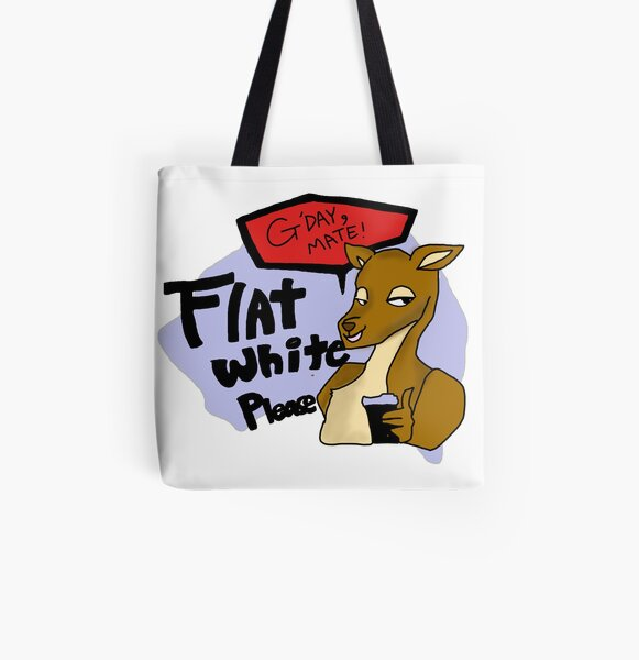 Grab a cup of Aussie Coffee(Australian Flatwhite) with Kangaroo All Over Print Tote Bag