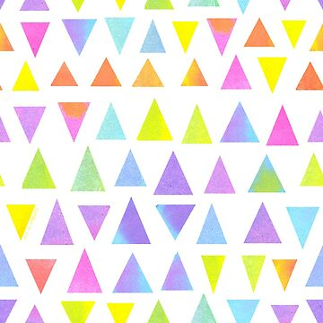 Colorful Watercolor Triangles Pattern by ArtVixen