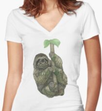 Sloth Fitted V-Neck T-Shirt