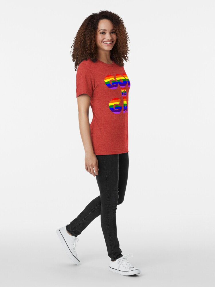 Alternate view of God is Gay (Rainbow) Tri-blend T-Shirt